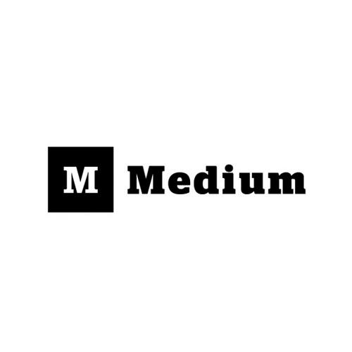 Medium logo (2012) using the font Stag