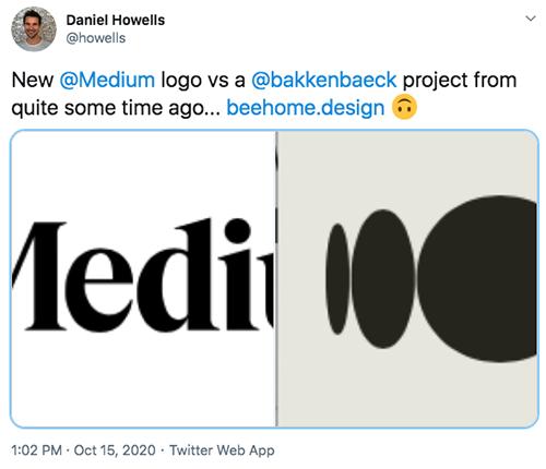 Daniel Howells @howells comparing Medium and Beehome logos.